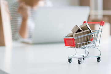 small trolley shopping cart with unrecognized woman shopping online on digital gadget.