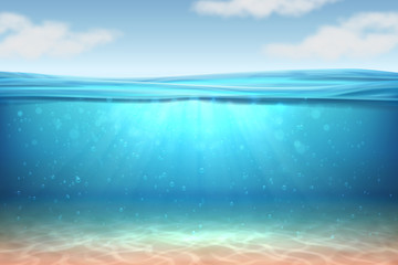 Realistic underwater background. Ocean deep water, sea under water level, sun rays blue wave horizon. Water surface 3D vector concept Wall mural