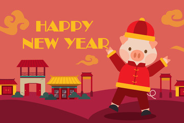 Happy chinese new year pig with house