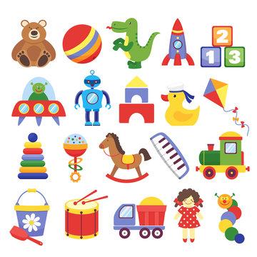 Cartoon toys. Game toy teddy bear dinosaur rocket childrens cubes kite robot. Kids dolls vector collection