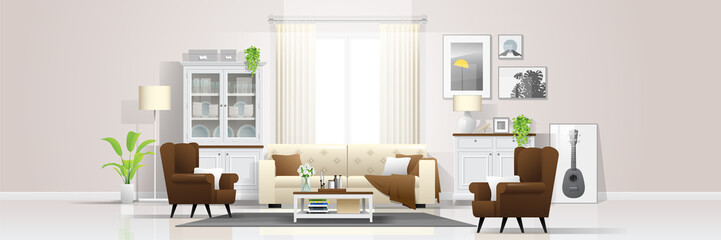 Interior background with warm and bright living room in rustic style , vector , illustration