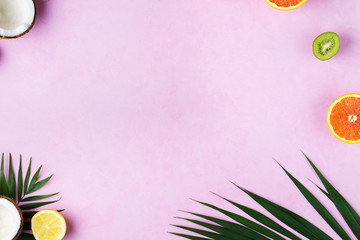 summer vacation, paradise, travel. ocean shore, tropical beach, sea coast. exotic fruits, palm leaves, coconut on pink background. minimal summertime concept. creative layout, banner, poster template