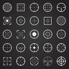 Target icon set on black background for graphic and web design, Modern simple vector sign. Internet concept. Trendy symbol for website design web button or mobile app