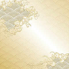 Japanese Cloud background with wave pattern vector. Gold Japanese line template.