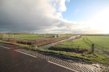 Fields and meadows of the Zuidplaspolder in wide angle view. This polder is the lowest in western europe.