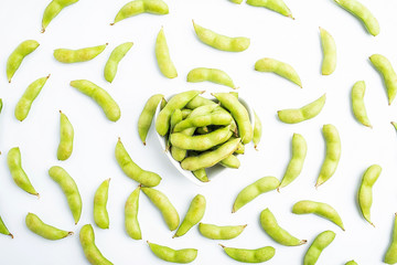 Fresh soybeans / green edamame on white background