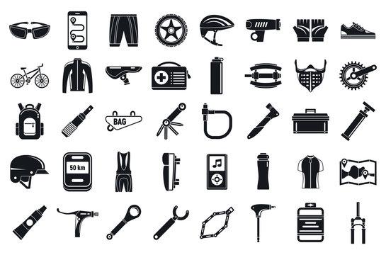 Mountain bike tool icons set. Simple set of mountain bike tool vector icons for web design on white background