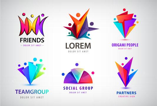 Vector set of human, people group logos. Family, business teamwork, friendship concept. 3d origami, multicolor men logo