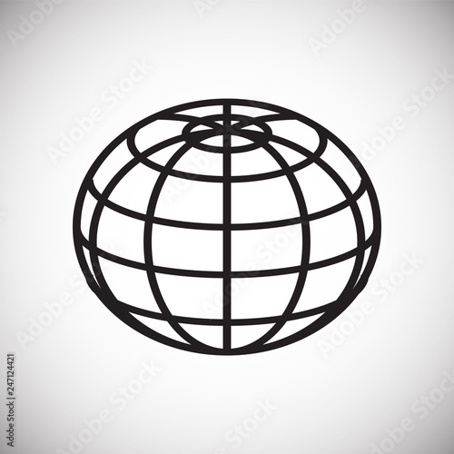 Globe icon on white background for graphic and web design