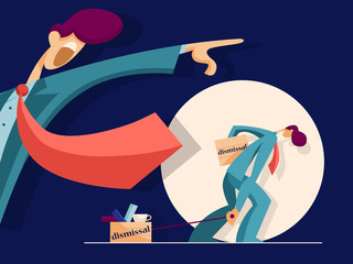 Dissatisfied boss firing male incompetent employee. Business concept. Vector illustration in flat style