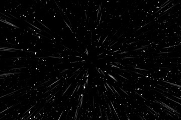 Bokeh white lines on black background, abstraction, abstract speed light motion blur texture, star particle or space traveling, black and white extrusion effect