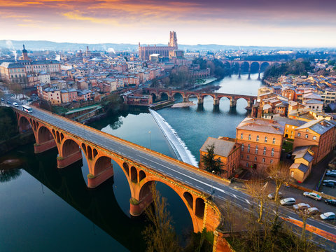 The ancient city of Albi in the south of France. View from above