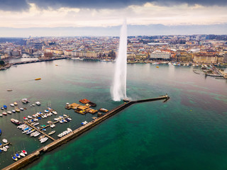 Aerial view of the fountain on the Lake Leman. Geneva. Switzerland