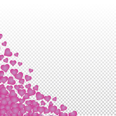 Hearts valentine background on transparent vector. Heart shapes Women's Day pattern with space for text or image