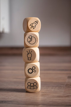 Cubes and dice with business solution and business success