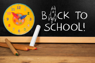 Chalkboard on a desk with back to school