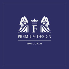 Art logo design. Capital letter F. Elegant emblem with crown, dragon wings. Beautiful creative monogram. Graceful sign for Royalty, business card, Boutique, Hotel, Heraldic. Vector illustration
