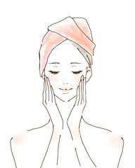 美容 スキンケアをする女性 ポジティブ