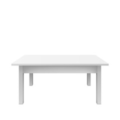 Empty white table design. Plastic teble isolated on white background. Vectro illustration