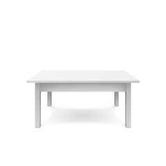 Empty white table design. Plastic teble with shadow. Vectro illustration isolated on white background
