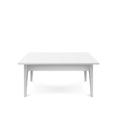 Realistic white table isolated on white background. White office table with shadow. Vector illustration