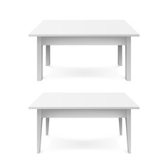 Realistic white office tables with shadow isolated on white background. Vector illustration