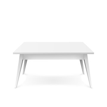 Realistic white table. White office table with shadow. Vector illustration isolated on white background