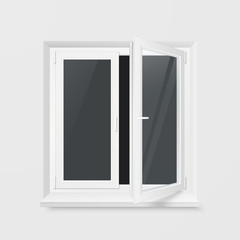White Office Plastic Window. Window Front View. Transparent glass. Vector Illustration Isolated on White Background