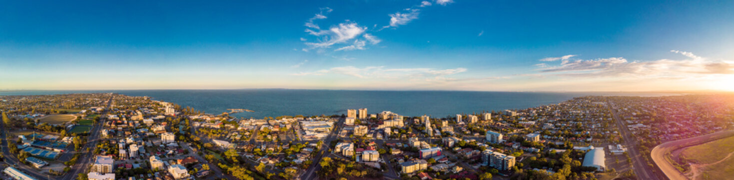 Aerial view of Suttons Beach area and jetty, Redcliffe, Australia