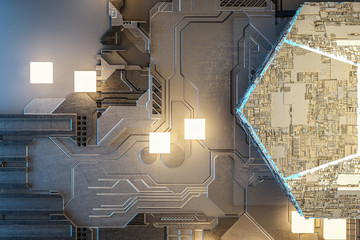 3d rendering, Circuit board and gold glow chip