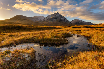 Golden Morning Light At Rannoch Moor With Snowcapped Scottish Mountains.