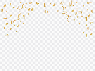 celebration background with gold confetti. Gold glitter confetti flying vector background