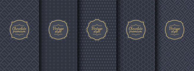 Set of dark vintage seamless backgrounds for luxury packaging design. Wall mural