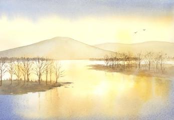 夕暮れ 空 山 湖 夕景 風景 水彩画