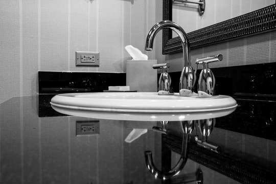 White sink with chrome taps