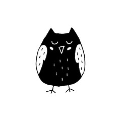 Cute cartoon hand drawn owl icon. Sweet vector black and white owl icon. Isolated monochrome doodle owl icon on white background.