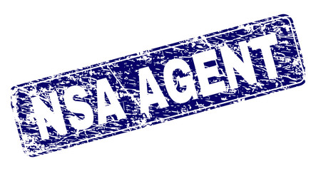 NSA AGENT stamp seal print with distress texture. Seal shape is a rounded rectangle with frame. Blue vector rubber print of NSA AGENT tag with unclean texture.