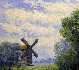 Oil paintings rural landscape.Old village, fine art.