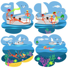 Cartoon collection of pictures with people having fun on yacht