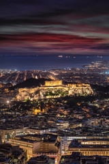 Fototapete - Der beleuchtete Parthenon Tempel der Akropolis von Athen, Griechenland, nach Sonnenuntergang