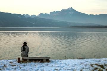 Girl near  at Lake