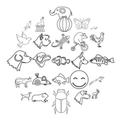 Favorite animal icons set. Outline set of 25 favorite animal vector icons for web isolated on white background