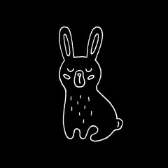 Cute cartoon hand drawn rabbit drawing. Sweet vector black and white rabbit drawing. Isolated monochrome doodle rabbit drawing on black background.