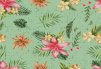 Beautiful seamless vector floral pattern, spring summer background with tropical flowers, leaves,leaf, hibiscus, bird of paradise flower