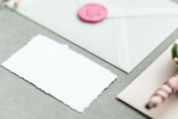 Workspace. Wedding invitation cards.The layout for text or photos. mockup
