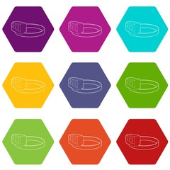 Action camera for heads icons 9 set coloful isolated on white for web