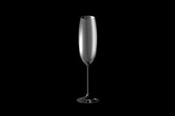 3D illustration of flute champagne glass isolated on black - drinking glass render