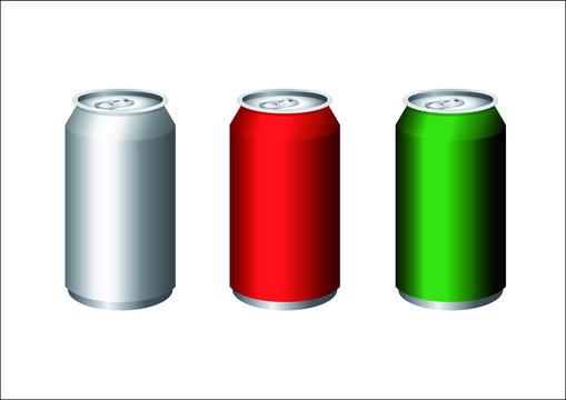 Illustration 3-D sur fond blanc de trois canettes métalliques pour emporter des boissons aux couleurs argent, rouge et vert.