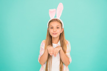 Looking pretty in easter bunny attire. Fashion accessory for easter costume party. Cute little girl wearing bunny ears headband. Small girl child in easter bunny style. Bringing the spirit of easter