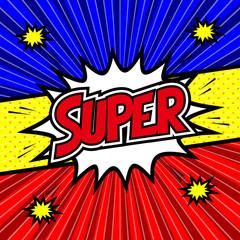 アメコミ風SUPER, Speech bubble box. Comics book colored template background.